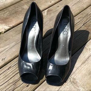 BCBG black open toe leather pumps heels size 11